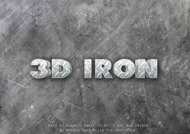 3d efekt stylu tekstu żelaza