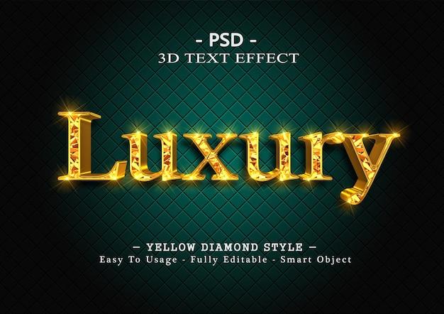 3d efekt stylu tekstu żółtego diamentu