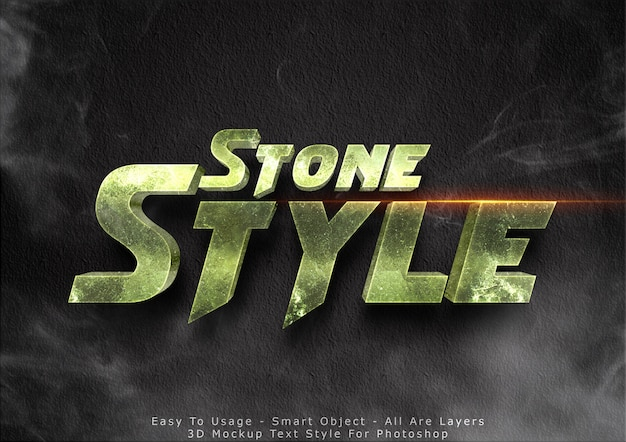 3d efekt tekstowy makieta kamienia