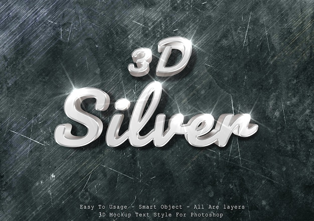 3d efekt tekstowy makieta srebrny