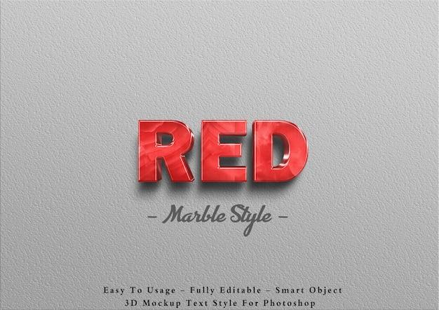 3d efekt tekstu czerwonego marmuru na ścianie