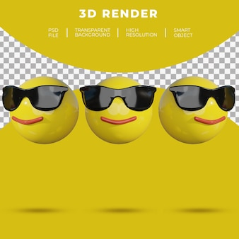 3d emoji social media twarz wesoły uśmiech renderowania okularów przeciwsłonecznych