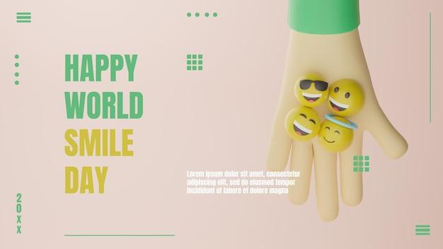 3d emotikon światowy dzień uśmiechu baner minimalistyczna koncepcja premium psd