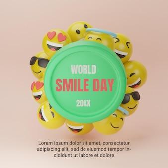 3d emotikon światowy dzień uśmiechu na instagramie post w mediach społecznościowych