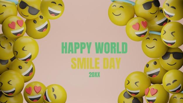3d emotikon światowy dzień uśmiechu wydarzenie baner premium psd
