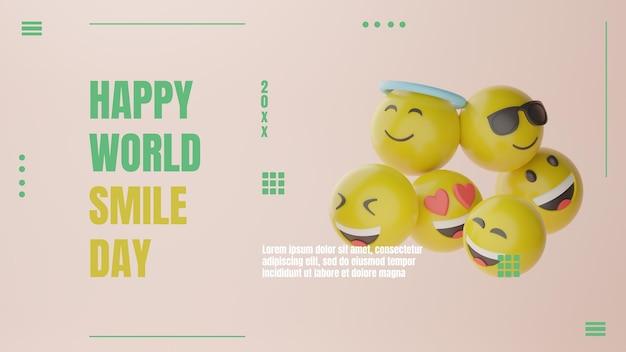 3d emotikon szczęśliwy świat dzień uśmiechu baner premium psd