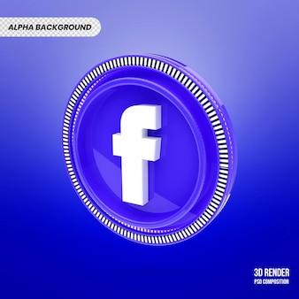 3d facebook logo na białym tle renderowania