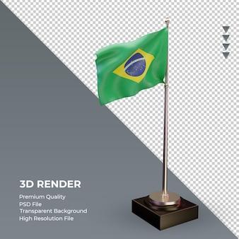 3d flaga brazylii renderuje widok z lewej strony
