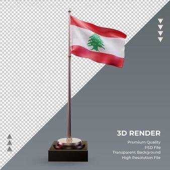 3d flaga libanu renderujący prawy widok