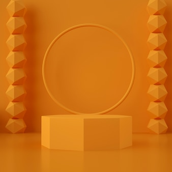 3d geometryczna pomarańczowa scena do lokowania produktu