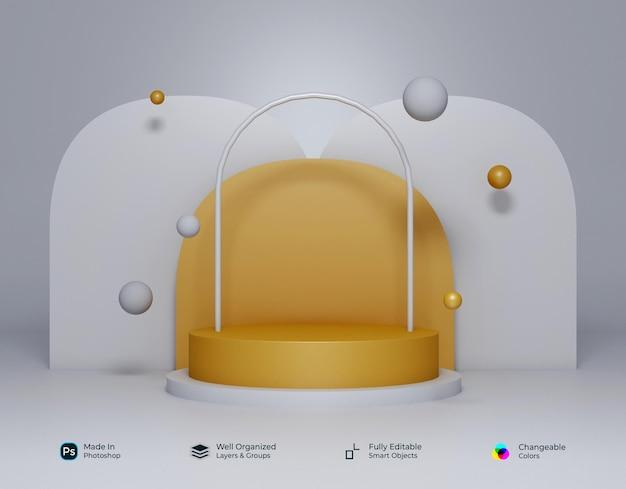 3d geometryczne białe złoto żółte podium z okrągłym wzorem