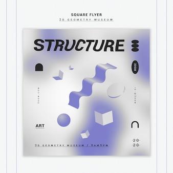 3d geometryczne kształty szablon ulotki