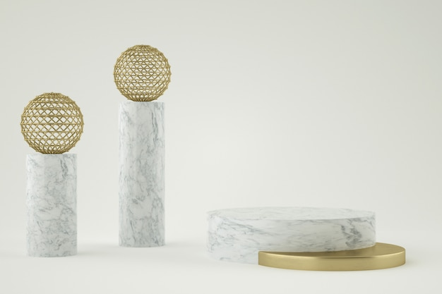 3d geometryczny marmur i złota scena