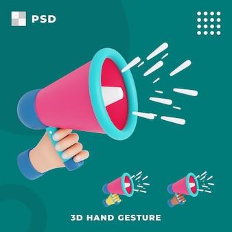 3d gest ręki z głośnikiem trzymania ręki