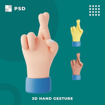 3d gest ręki ze skrzyżowanymi palcami