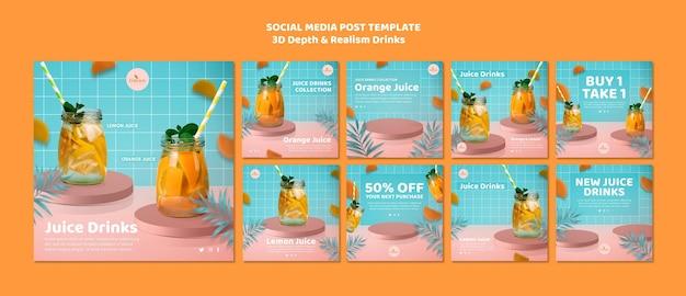 3d głębia i realizm drinki post w mediach społecznościowych