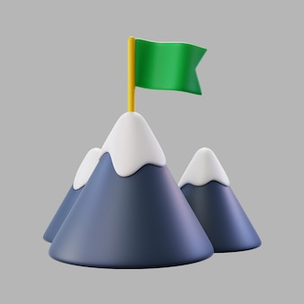 3d góry ze śniegiem i flagą