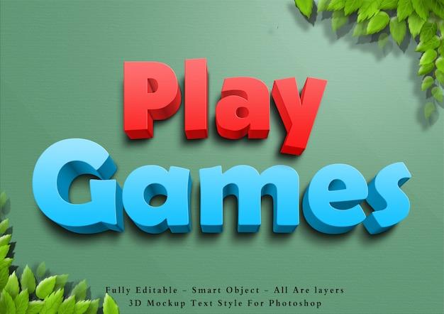 3d grać w gry efekt stylu tekstu