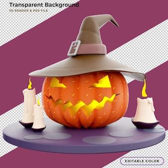 3d halloweenowa latarnia z dynią w kształcie głowy z płonącymi świecami