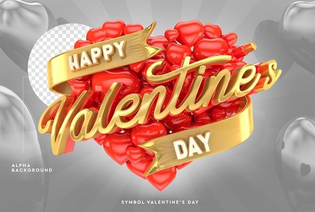 3d happy valentine's day logo z sercami w renderowaniu 3d