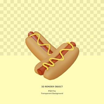 3d hot dog ilustracyjny obiekt renderowany premium psd