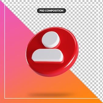 3d ikona awatara z czerwonym kółkiem na białym tle