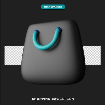 3d ikona ciemnej wersji torby na zakupy