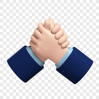 3d ikona do siłowania się na rękę partnerzy biznesowi uścisk dłoni na białym tle ilustracja renderowania 3d