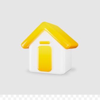 3d ikona domu błyszczący metaliczny na białym tle