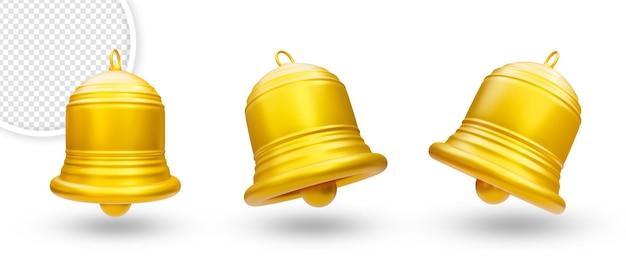 3d ikona dzwonka powiadomienia na białym tle zestaw