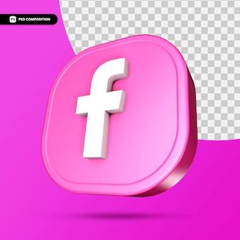 3d ikona facebook na białym tle