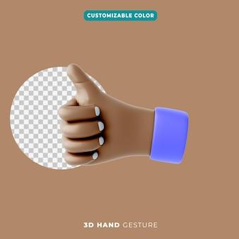 3d ikona gestu kciuka w górę