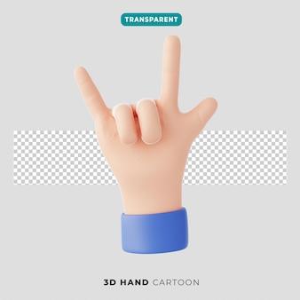 3d ikona gestu ręki rock