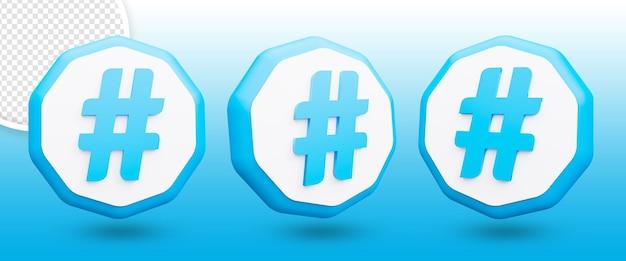 3d ikona hashtagu na białym tle