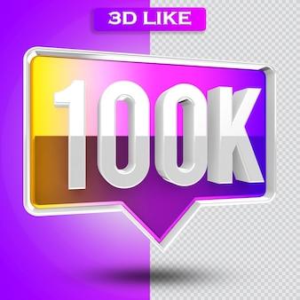 3d ikona instagram 100 tys. obserwujących renderuje