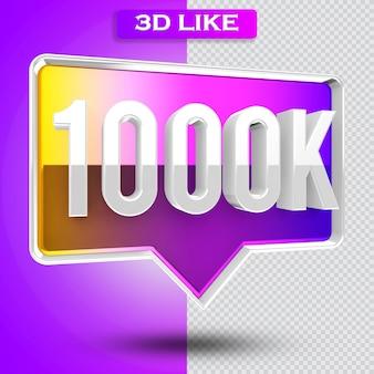 3d ikona instagram 1000k obserwujących renderuje