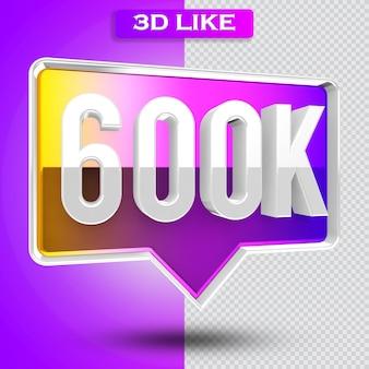 3d ikona instagram 600k obserwujących renderuje