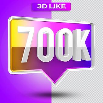 3d ikona instagram 700 tys. obserwujących renderuje