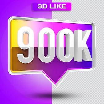 3d ikona instagram 900k obserwujących renderuje