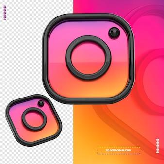 3d ikona instagram czarny na białym tle dla kompozycji