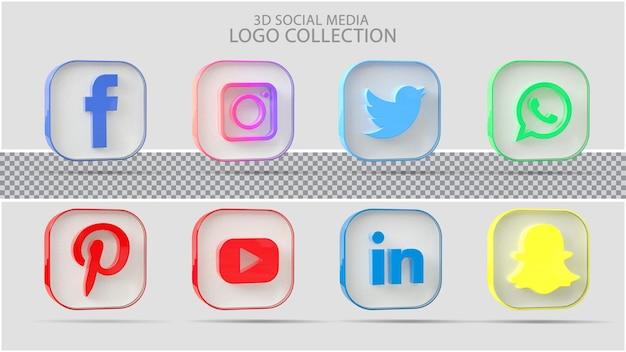 3d ikona kolekcji mediów społecznościowych