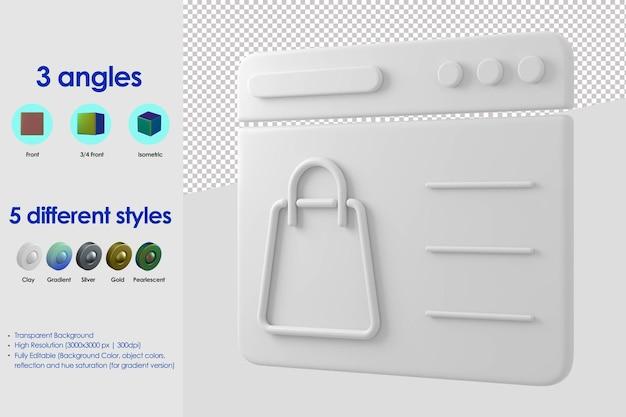3d ikona koncepcja witryny sieci web zakupy