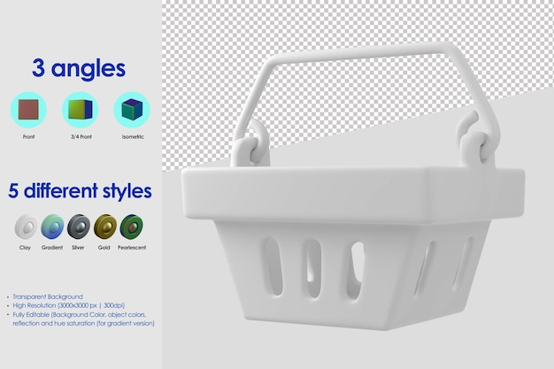 3d ikona koszyka na zakupy