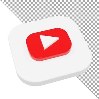 3d ikona logo youtube minimalistyczny izometryczny