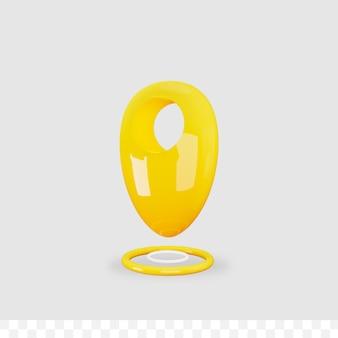 3d ikona lokalizacji błyszczący metaliczny na białym tle