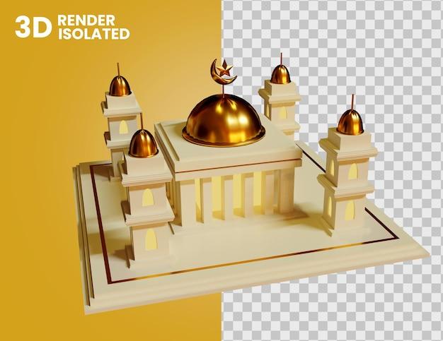3d ikona meczetu na białym tle