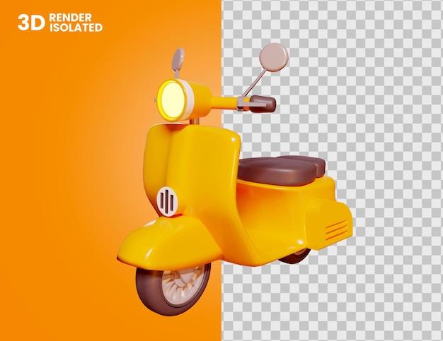 3d ikona motocykla vespa na białym tle