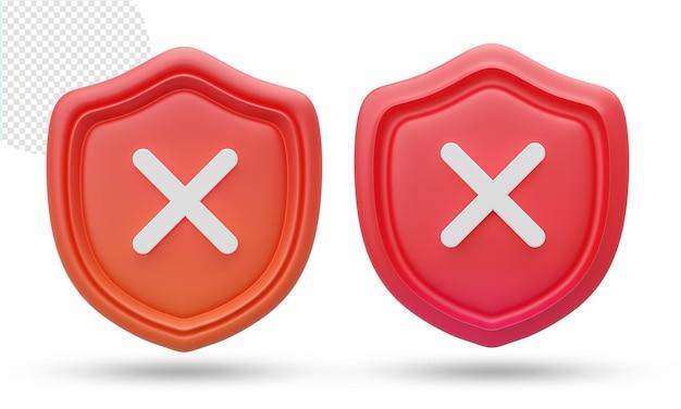 3d ikona na białym tle tarcza zabezpieczeń lub bezpieczeństwa