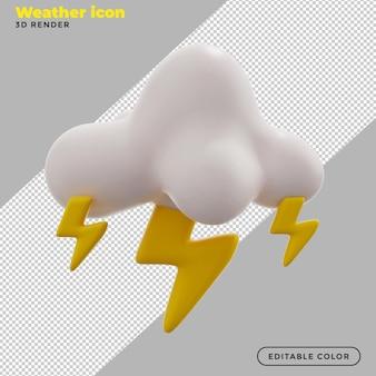3d ikona pogody burze z piorunami