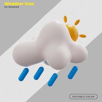 3d ikona pogody słońce i deszcz